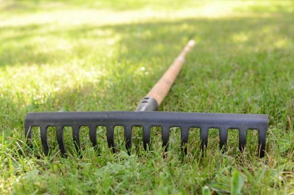 Rasenfläche mit einem Rechen anruane